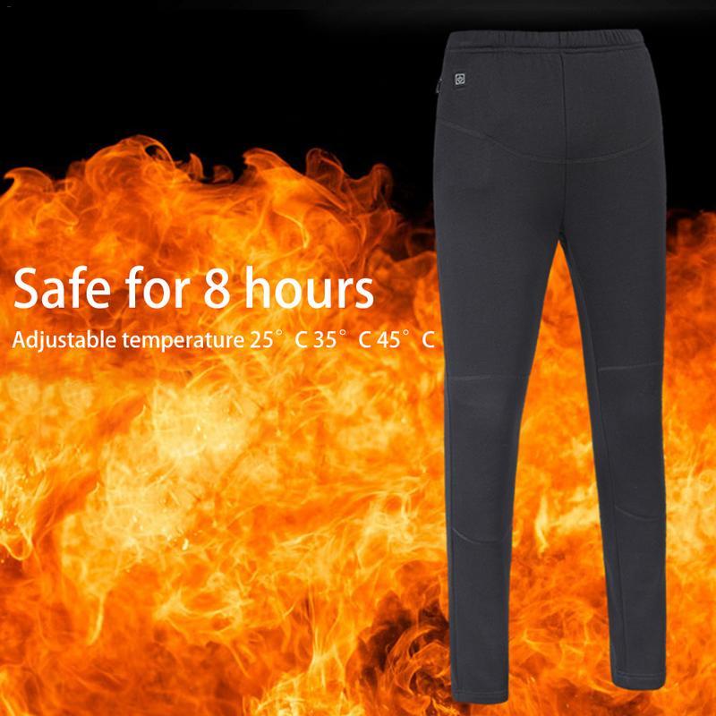 Winter Women Pants Trousers Elastic Waist Leggings Trousers Slim Thickened USB Charging Intelligent Heating Pants