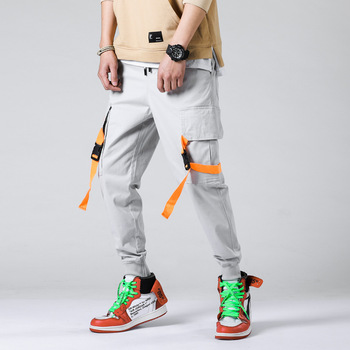 #1914 Casual Pencil Pants Men Streetwear Hip Hop Pants Mens Joggers With Pockets Ribbons Fashion Cargo Trousers Ankle-length
