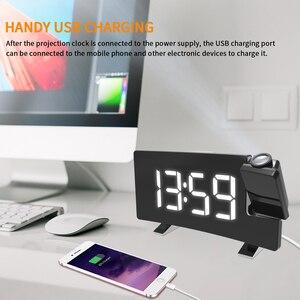 Image 3 - דיגיטלי רדיו שעון מעורר הקרנה נודניק טיימר LED תצוגת USB תשלום כבל 180 תואר שולחן קיר FM רדיו שעון