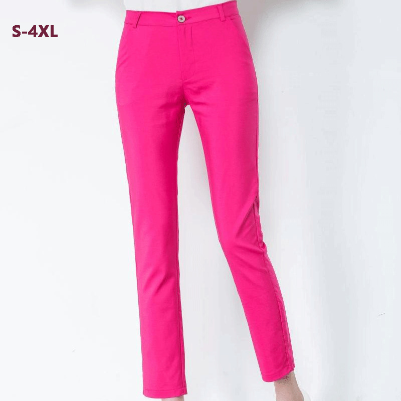 Women Motorcycle Pants Casual Autumn Pencil Pants Plus Size <font><b>4XL</b></font> Female Cotton Stretch Pants Black Pink Pants <font><b>Pantalones</b></font> <font><b>Mujer</b></font> 18 image