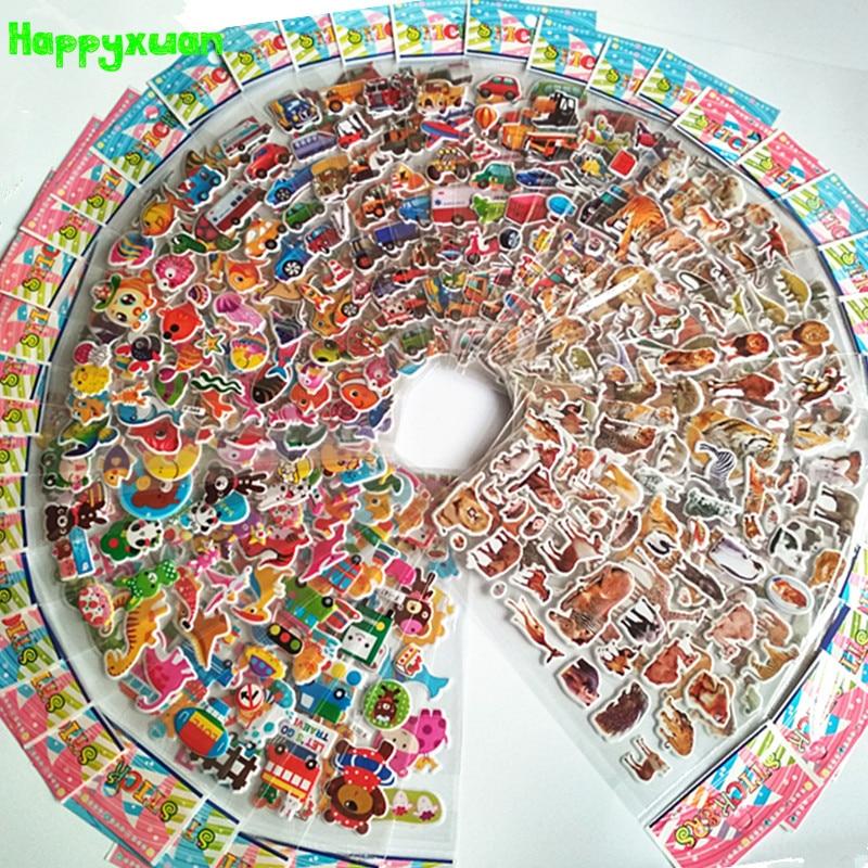 Happyxuan 50 Sheets Cute Kids 3D Puffy Stickers Animals Cars Cartoon Ocean Fish Boys Gift School Teacher Reward Scrapbooking Toy