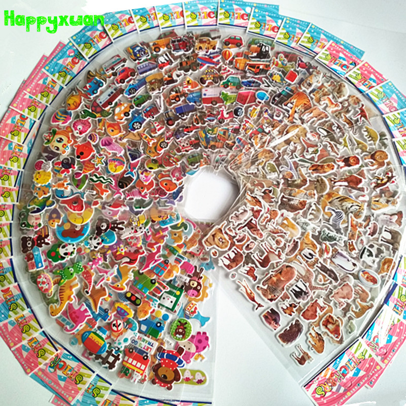 Happyxuan 50 Sheets Cute Kids 3D Puffy Stickers Animals Cars Cartoon Ocean Fish Boys Gift School Teacher Reward Scrapbooking Toy