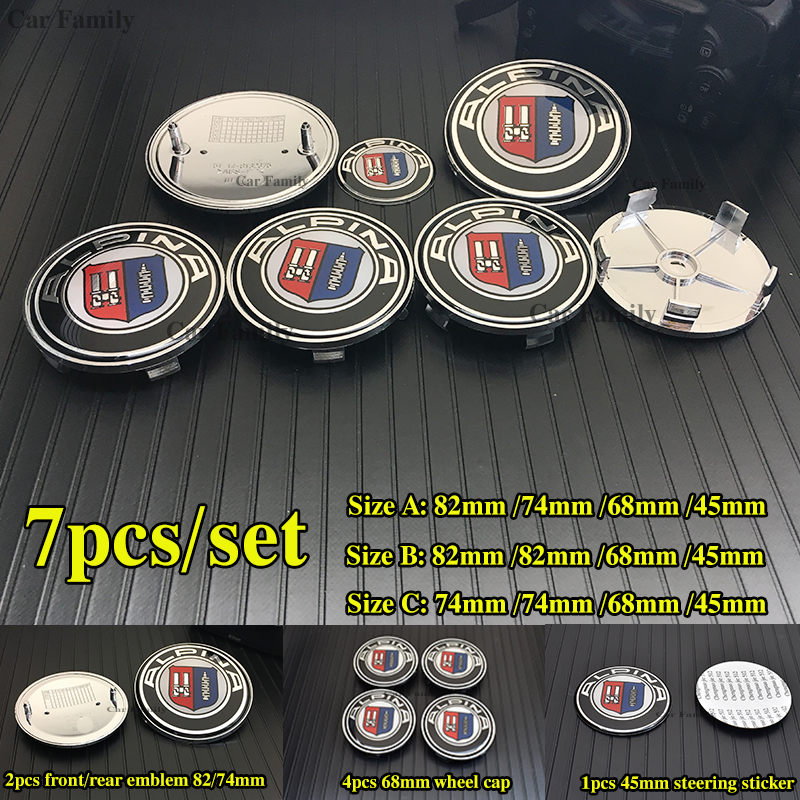 7pcs set Car steering wheel sticker 45mm Carbon Front Emblem 82mm Rear Trunk Badge 74mm Car Wheel Hub Center Cap 68mm For bmw
