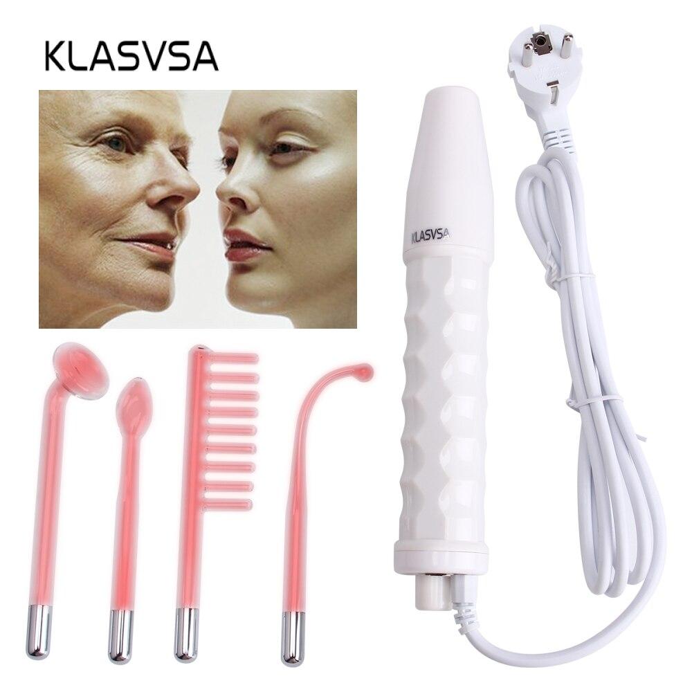 Darsonval baguette 4 en 1 décapant haute fréquence soins de la peau du visage Spa du visage Salon dispositif de thérapie de l'acné + 1 adaptateur EU Glaselektrode