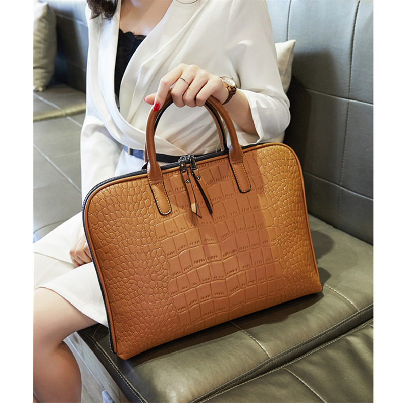 Image 4 - Business Women Briefcase Leather Handbag Woman Casual Totes 13.3 14 Inch Laptop bag Shoulder Office Bags For Ladies Briefcases