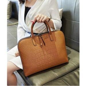 Image 4 - رجال الأعمال حقيبة جلدية حقيبة يد امرأة عادية Totes14.1 15.6 بوصة حقيبة لابتوب حقائب مكتبية الكتف للسيدات حقائب