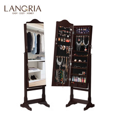 LANGRIA Lockable Standing Jewelry Cabinet Armoire and Storage Organizer with Mirror LED lights for Rings Earrings Cosmetics(China)