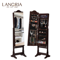 LANGRIA Lockable Standing Jewelry Cabinet Armoire and Storage Organizer with Mirror LED lights for Rings Earrings Cosmetics