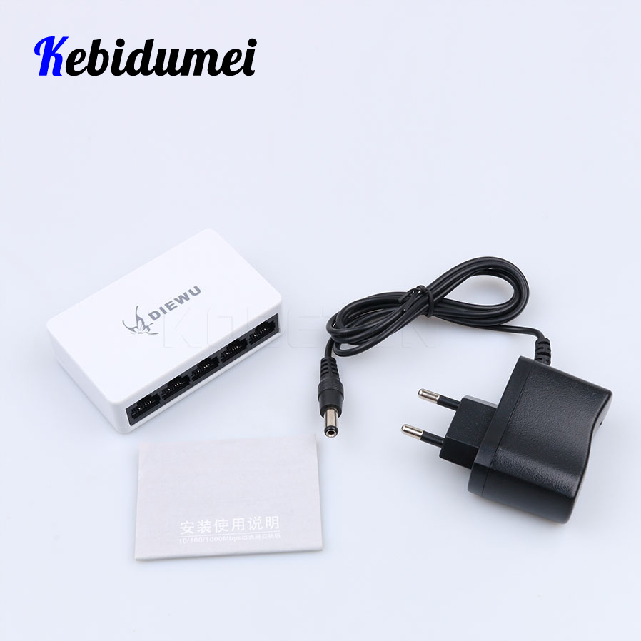 Kebidumei Network Switch Fast Ethernet 10/100mbps Lan Rj45 Switcher Hub With Us Eu Power Adapter For Desktop Pc High Quality Network Switches Computer & Office