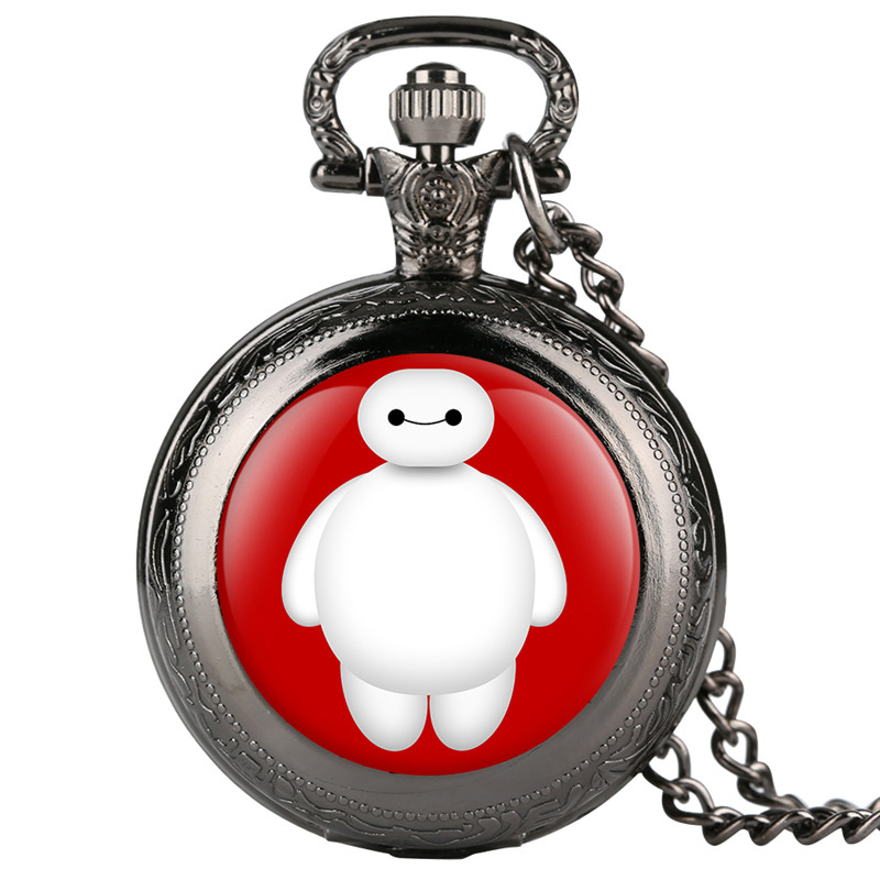 Clock Fine Chain Mens Pocket Watch Cartoon Character Pattern Quartz Pocket Watch Arabic Digital Pocket Watches For Men Women