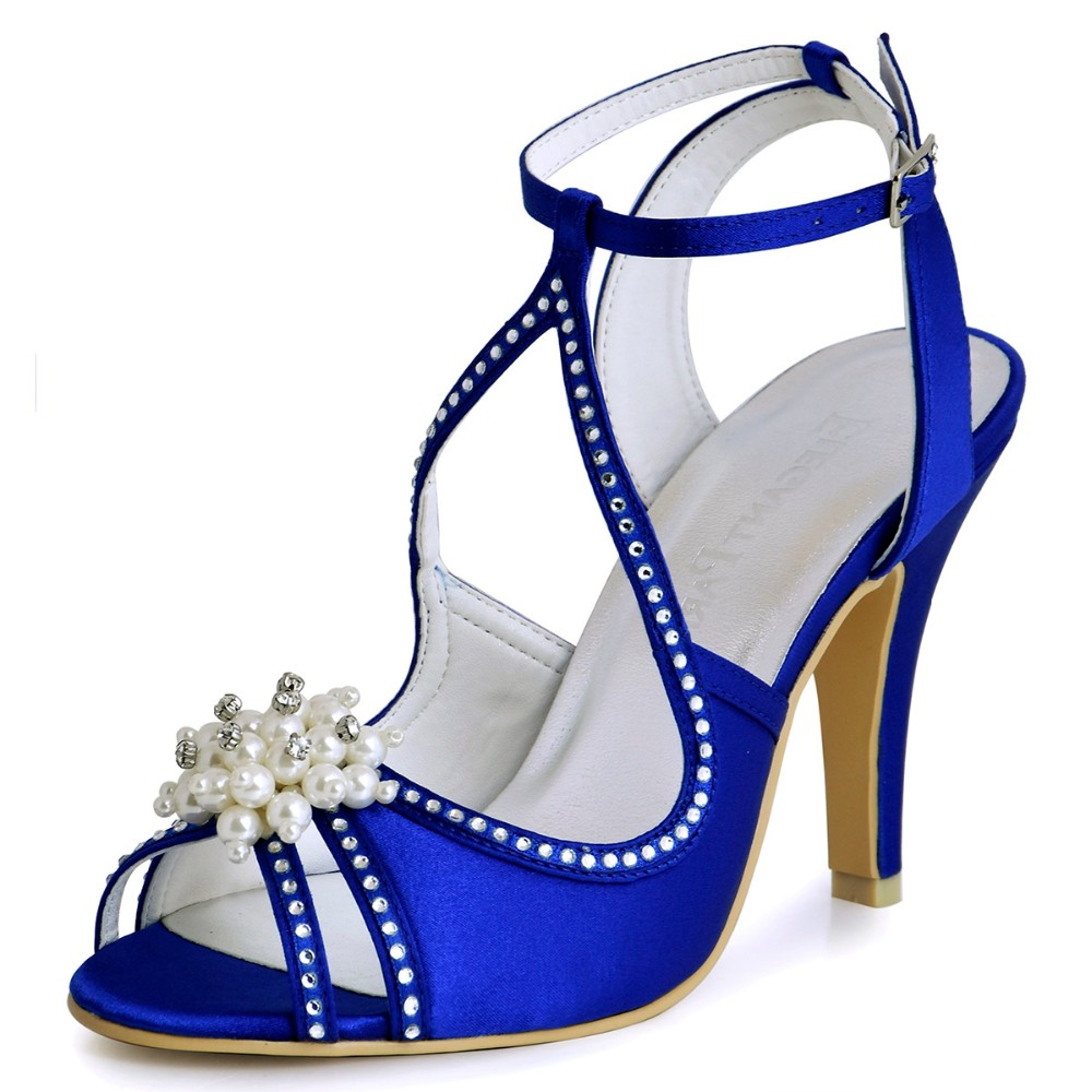 Summer Sandals Woman Wedding Bridal Shoes Ivory Blue Pearl