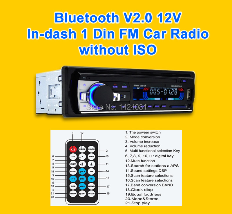 2019New Car Stereo Bluetooth V2.0 12V In-dash 1 Din FM Car Radio without ISO Aux Input Receiver SD USB MP3 MMC WMA Player image