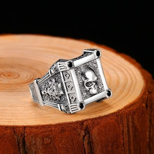 Image 5 - ZABRA Adjustable Size 925 Sterling Silver Skull Rings For Men Zircon Ring Vintage Puck Rock Biker Jewelry