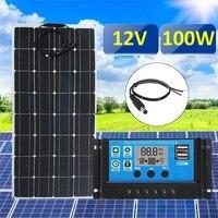Лучшая цена 3in1 100 W 12 V MC4 Панели солнечные комплект Солнечные энергетические установки костюм 30A PWM многофункциональный контроллер 30 см кабел