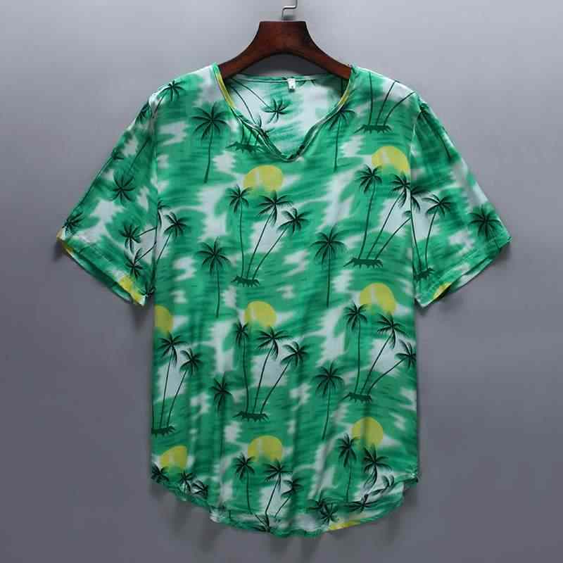 INCERUN 2019 Мужская Гавайская футболка с принтом, v-образный вырез, короткий рукав, свободные праздничные пляжные футболки, повседневная мужская футболка, Camisetas, лето, S-5XL