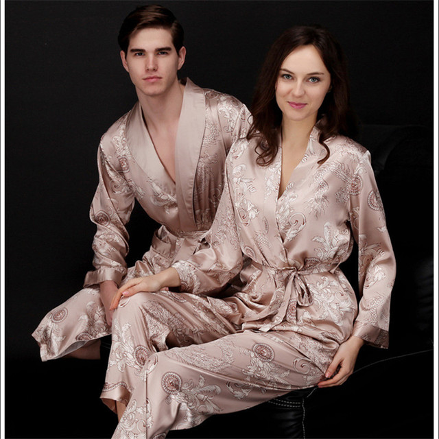 210fef13f53723 US $20.99 |Faux silk mens pajama sets men sleepwear male sleep&lounge  Chinese red wedding Pijamas for women couple pajamas female pyjamas-in  Pajama ...