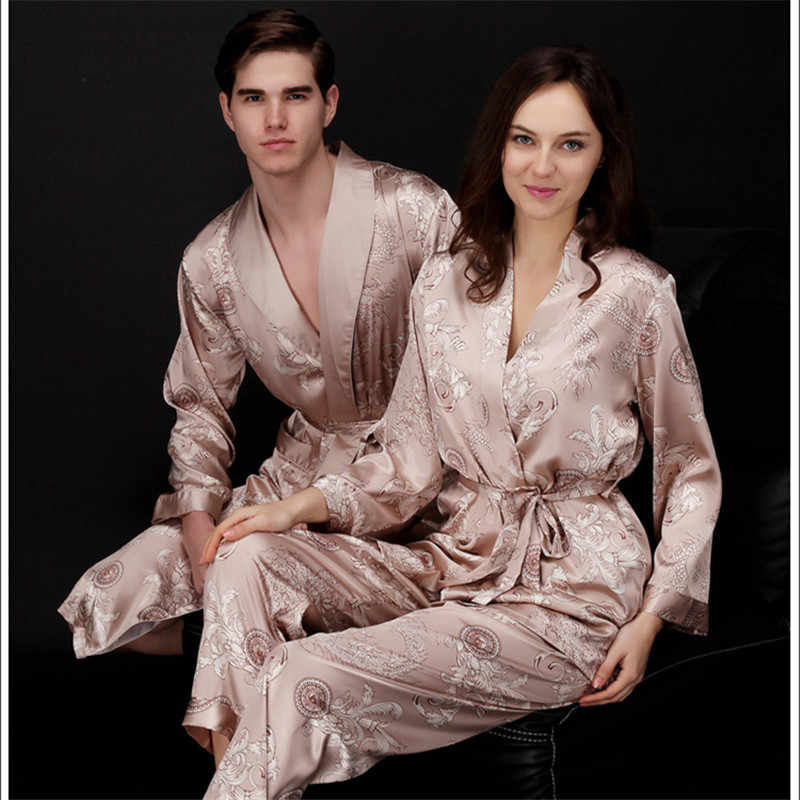 Faux silk mens pajama sets men sleepwear male sleep lounge Chinese red  wedding Pijamas for women couple 414515a37