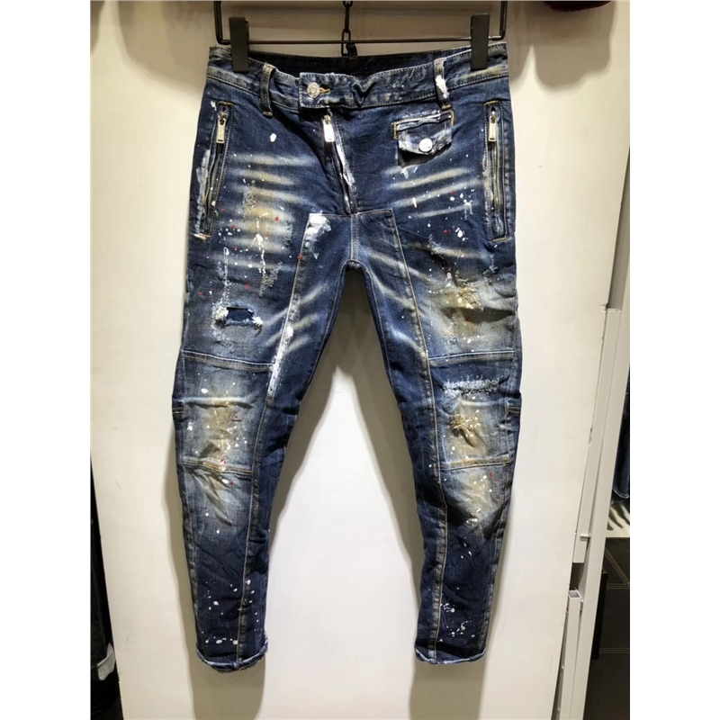 Men's Clothing 2019 Hot Luxury Ripped Jeans Men Patchwork Moto & Biker Printed Beggar Cropped Pants Man Cowboys Demin Pants Male Outdoor 28-38 Refreshing And Beneficial To The Eyes
