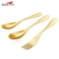 Keithart Titanium Tableware Fork Spoon Set Ultralight High Strength Outdoor Camping Picnic Fork Spoon Tableware Dinnerware Set
