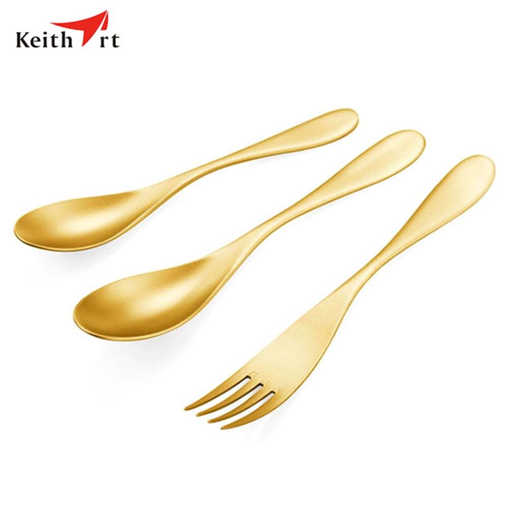 Keithart titane vaisselle fourchette cuillère ensemble ultra-léger haute résistance en plein air Camping pique-nique fourchette cuillère vaisselle ensemble