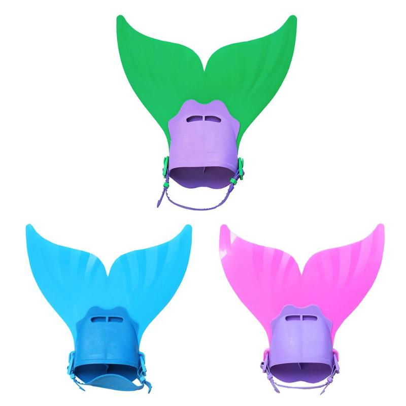Kids Swimming Fins Training Flipper Mermaid Swim Fin Swimming Foot Flipper Diving Feet Tail Monofin Water Sports Training Shoes