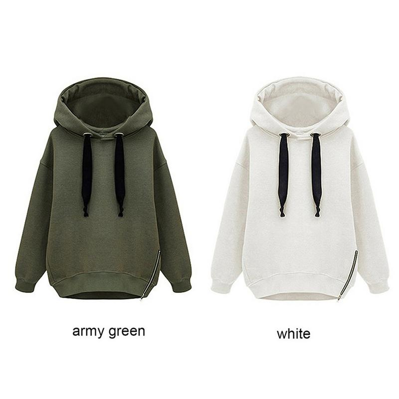 Autumn Fashion Pullover Hoodies Women Loose Plus Thickening Warm Long Sleeved Casual Simple Soft Solid Color Hoodie Tops Newly