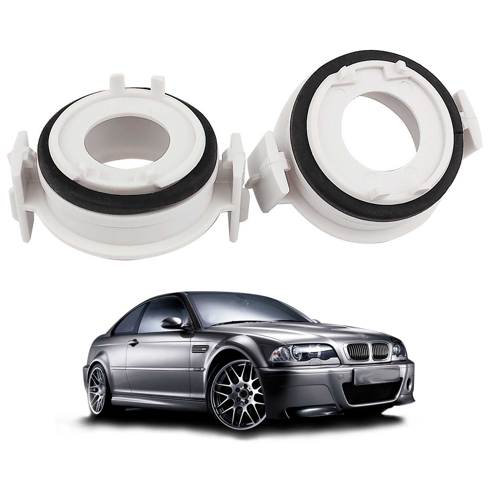 2pcs H7 Retainer Headlight Holder Adapters For BMW E46 3 Series 1998-2005 HID LED Headlight Conversion