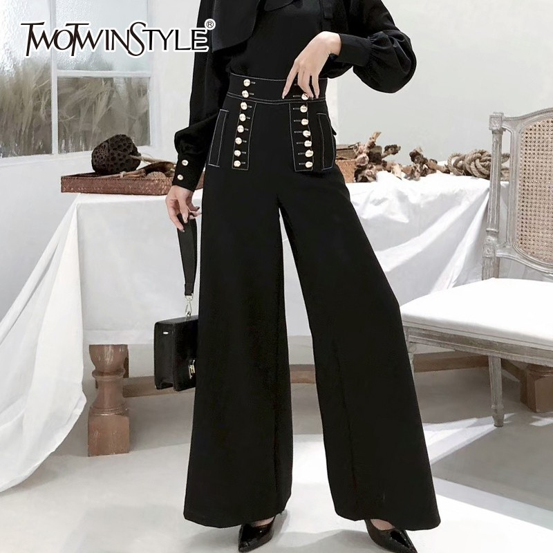 TWOTWINSTYLE Black Double Breasted   Wide     Leg     Pants   Female High Waist Long Trousers For Women Korean Fashion 2018 Spring Autumn