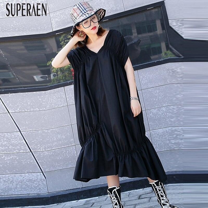 SuperAen V neck Dress Women Cotton Irregular Pluz Size Cotton Solid Color Dress Female New 2019