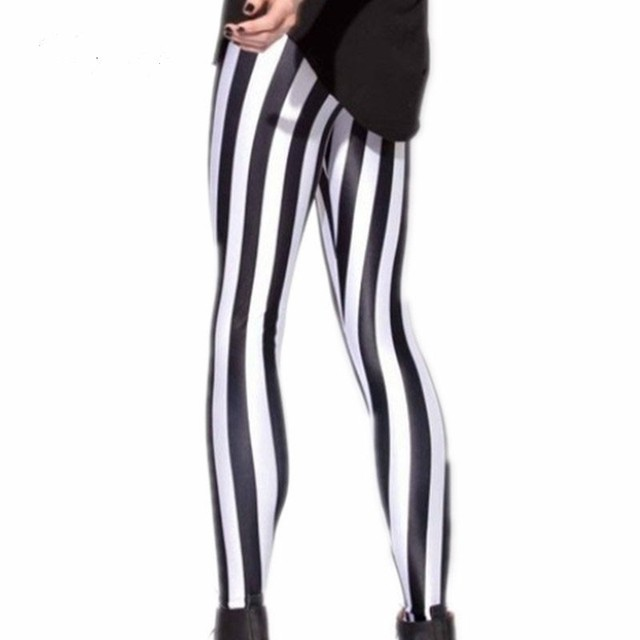 76a7d07cce67 Black And White Striped Leggings For Women Zebra Print Pants Fashion  Spandex Plus Size Vertical Stripes Leggings Milk Legi Slim