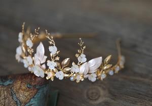 Image 2 - Handmade Gold Bridal Crowns Flower Leaves Wedding Hair Accessories Vintage Tiaras Rhinestone Headdress Headband Party Jewelry