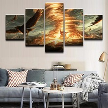 HD Printing On Canvas Wall Picture 5 Panel Gathering Magic Game Landscape Decorative Painting Art Modular Framework