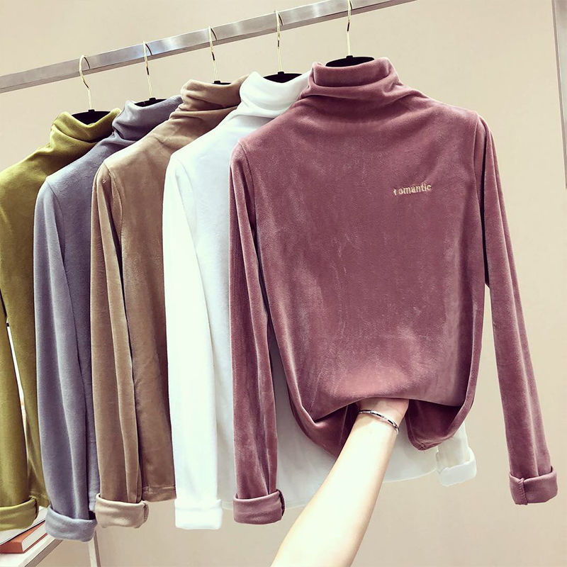 PEONFLY Knitted Pullovers Jumper Turtleneck-Tops Letters Embroidery Loose Soft Female