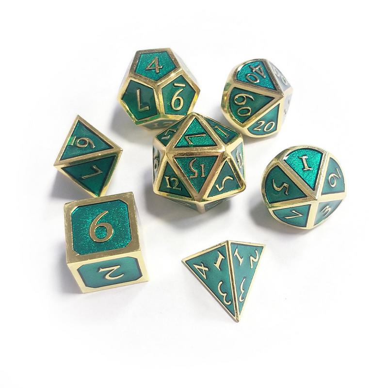 7PCS Retro Metal Polyhedral Dice Multi-Sided RPG D&D Dungeons Dragons Poly Board Table Game Entertainment Gaming Plastic Cubes