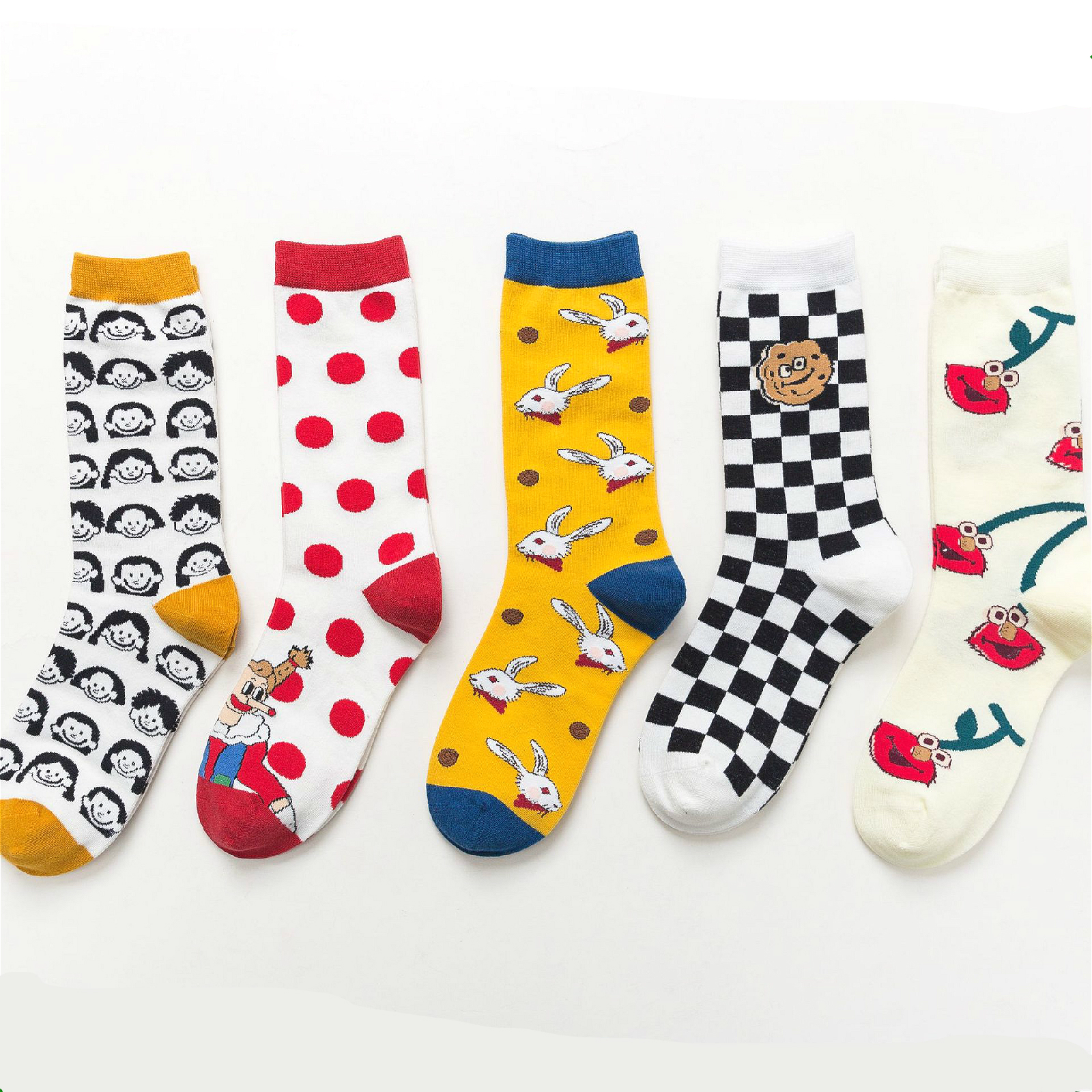 PEONFLY Cute Cartoon Happy Socks Women Lovely Rabbit Printed Casual Comfortable Socks Cherry Plaid Kawaii Motion Socks Femme