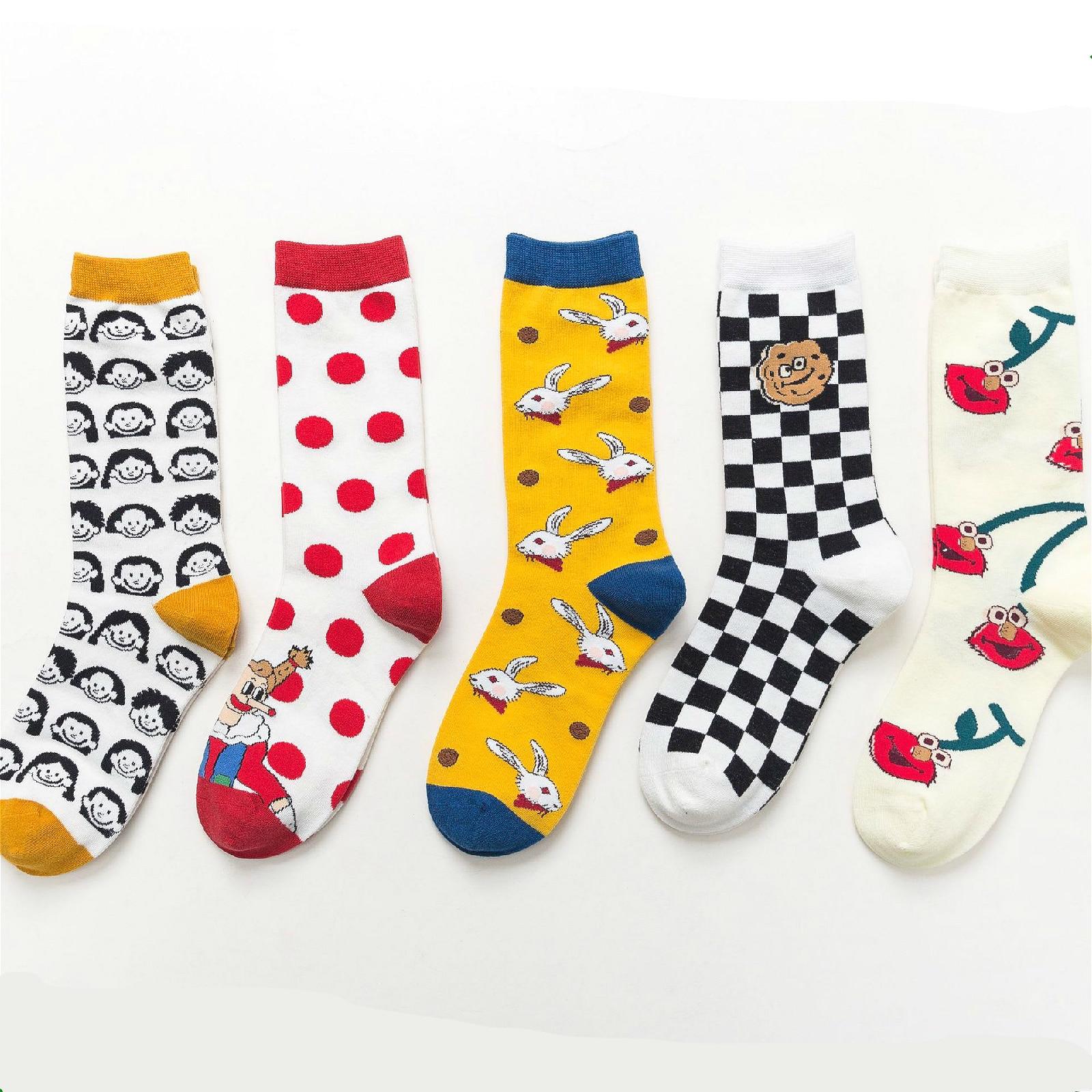 PEONFLY Cute Cartoon Happy Socks Women Lovely Rabbit Printed Casual Comfortable Socks Cherry Plaid Kawaii Motion Socks Femme