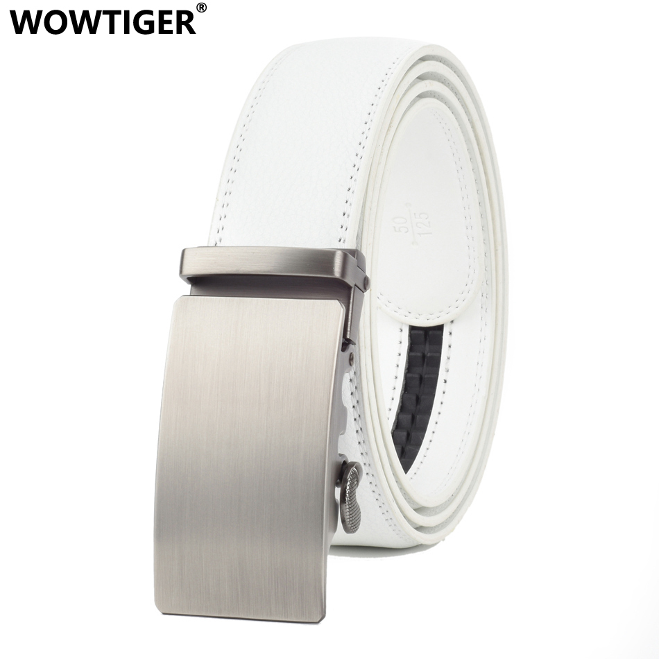 WOWTIGER 35mm White Cowhide Leather Belt For Men High Quality Male Brand Ratchet Automatic Luxury Belts Cinturones Hombre