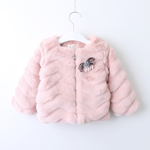 1f01d3791 baby girls coat solid christmas flower kids fur coats long sleeve ...