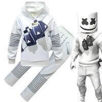 Boy Marshmello Sweatshirt Hoodie Pants Helmet Kids DJ Music Smile Face Costume Children Tracksuit Teenage Sportwear Clothing Set