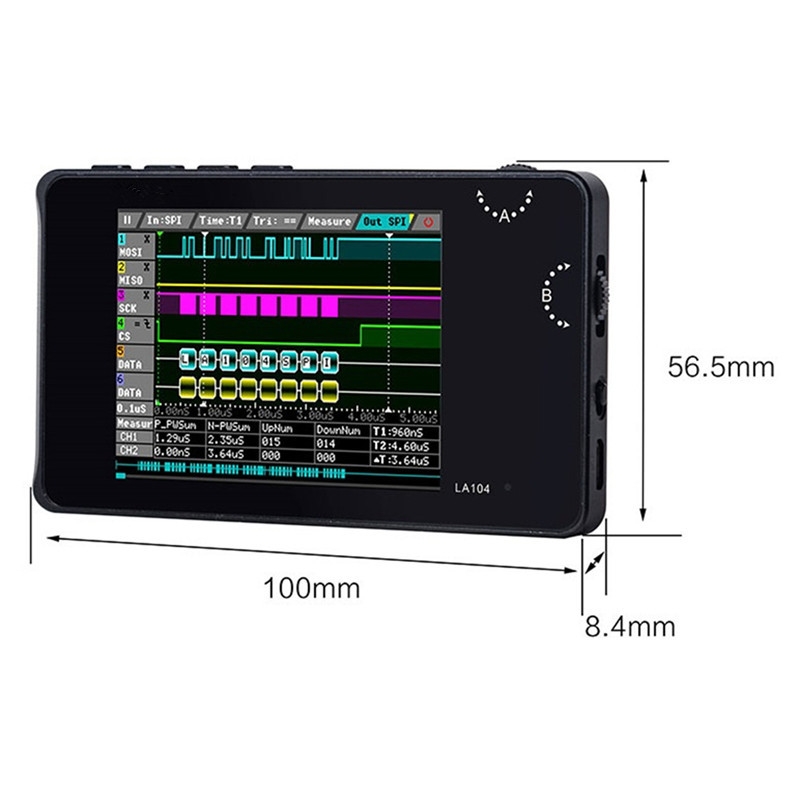 Protable LA104 Digital Logic Analyzer 4CH Oscilloscope SPI IIC UART Programmable 100MHz Sample Rate 2.8Inch Screen Digital