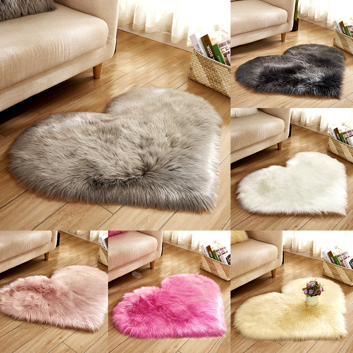 OHEART Love Heart Carpet For Living Room Faux Fur Sheepskin Hairy Rugs Non-slip Mat Artificial Wool Fluffy Soft Washable