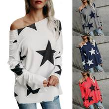 38f2e591d14 Women Long Sleeve Casual Starry Shirt Loose Sexy Boat Neck Off Shoulder Top (China)