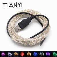 RGB LED tira impermeable 5V USB LED cadena luces 20M 10M 5M 2M alambre de plata Hada LED Navidad decoración exterior vacaciones cinta