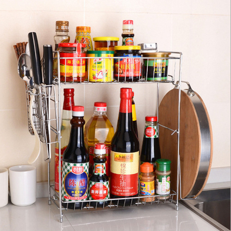 1 Set Bold Double Layers Flavoring Spice Racks Standing With Knife Holder & Cutting Board Rack Kitchen Storage Rack Holders