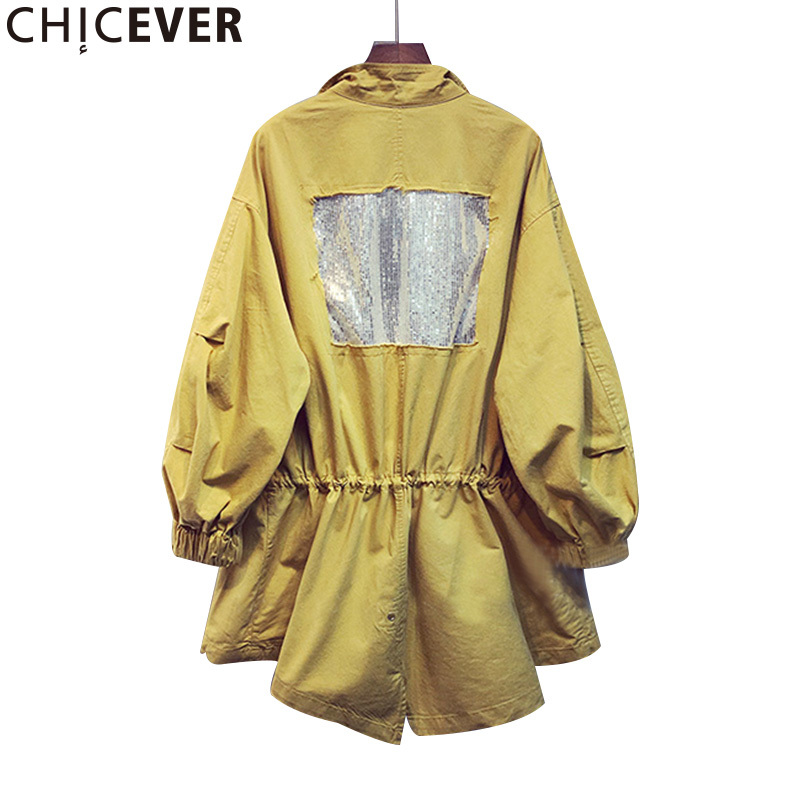 CHICEVER 2019 Summer Long Sleeve Slim Casual Female Women Coat Loose Lace Up Trench Coats For Women's Basic Clothing Fashion