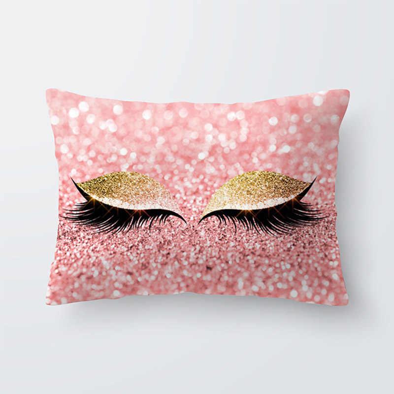 Современные модные розовые Золотой ресниц из мягкой бархатное покрытие 30x50 см Мрамор наволочка Спальня Подушка для украшения дивана случаях