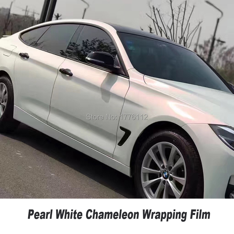 Car styling Matte Pearl White Chameleon Vinyl Wrap High Poly Pearl Car wrapping film Bubble Air