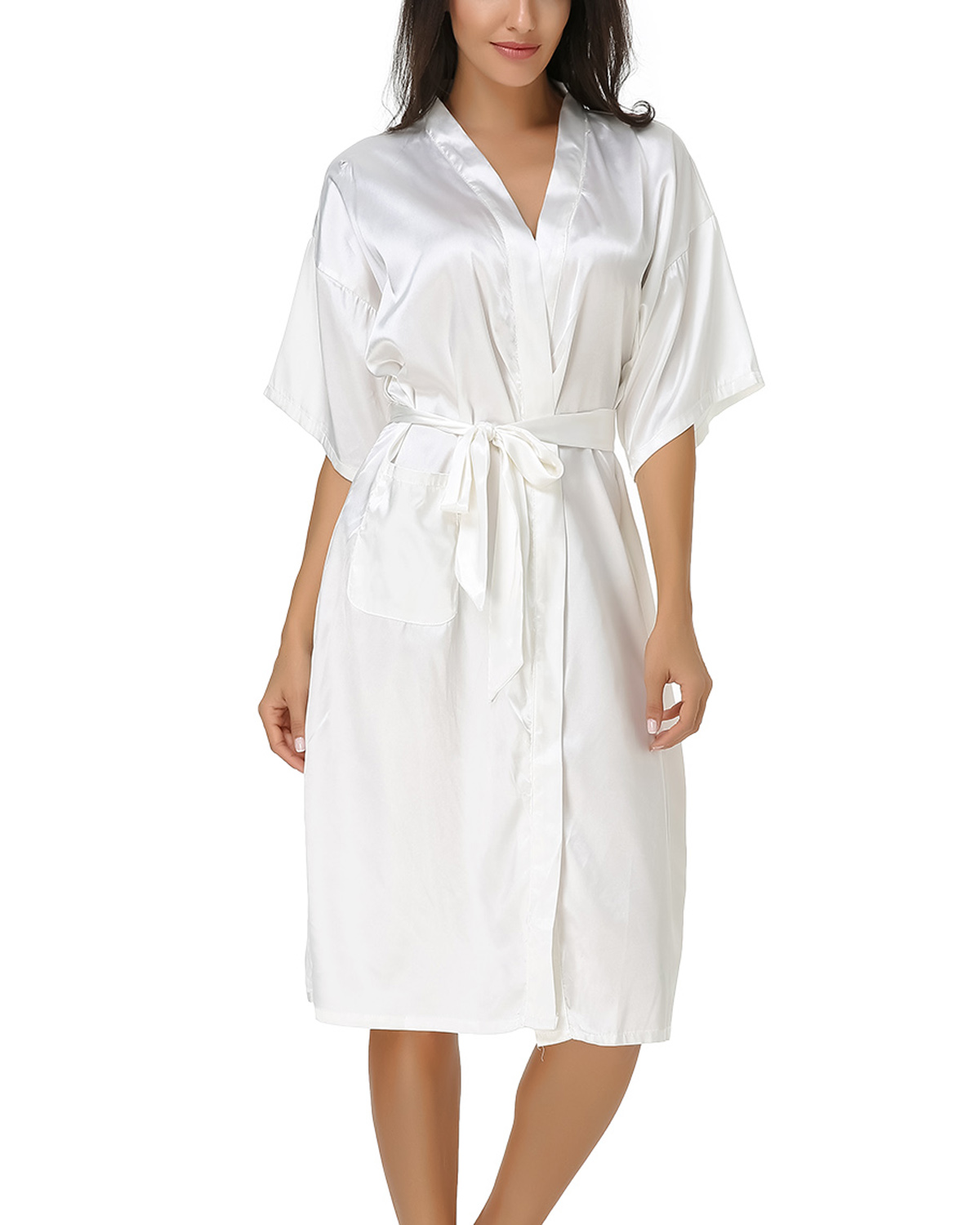 Summer 2019 Sleepshirts Women Casual Loose Sexy V-Neck Half Sleeve Mid-Calf Pockets Silk Nightgowns Solid Belt Lounge Plus Size