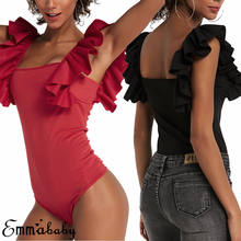 Brand New 2019 Womens Bodysuit Sexy Short Ruffle Sleeve O-neck Blouse Jumpsuit Romper Tops T-Shirt Newest(China)