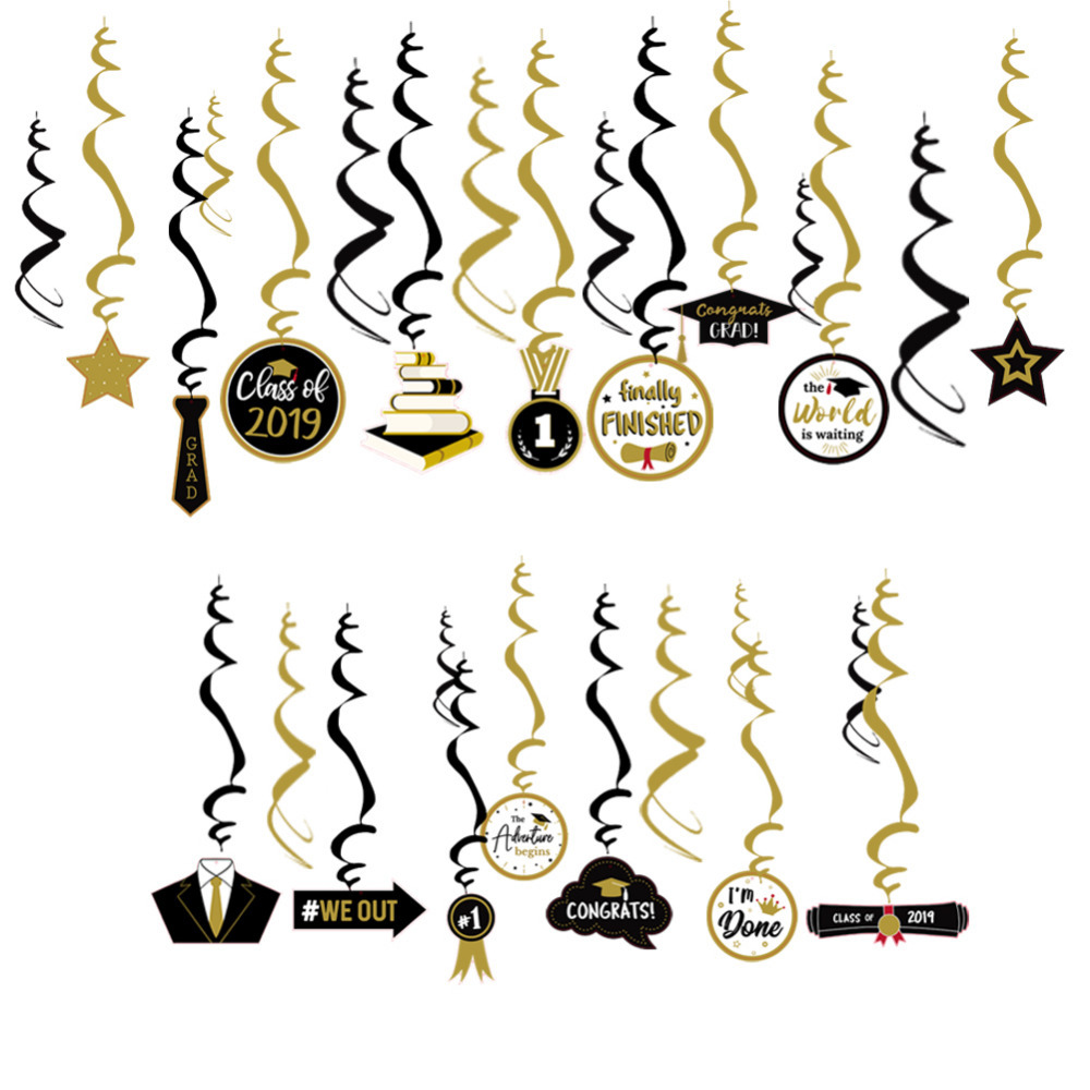 Pack of 30 Black Gold 2019 Graduation Party Supplies Hanging Foil Swirl Decorations Ceiling Swirls Class of 2019 Grad Prom Party in Party DIY Decorations from Home Garden